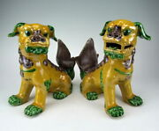 Pair Of Antique Plain Tri-colored Porcelain Foo Dogs Statues Chinese