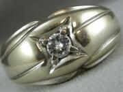Antique Round Diamond Solitaire 14kt White Gold Mens Band Wedding Ring L1325.2