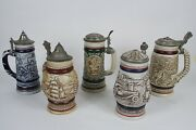 Lot Of 5 Vtg Avon Display Collectible Beer Stein 19761977197819791980 Euc