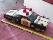 Vintage Tin Toy Car.. Battery Operated Bumpand039nand039go 15 Inch Police Buick.. Works