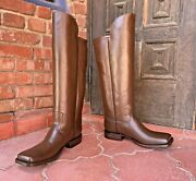 Brown Leather Officer Boots Menand039s Size 10ee Civil War Reenactment Caboots