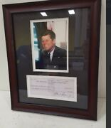 John F Kennedy Signed Bank Check And Photoplease Note That The Check Is A Repica