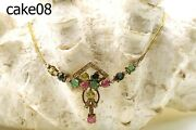 Asian Crafted Real Ruby Emerald Sapphires And Diamonds 18k Gold Necklace Cake08