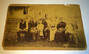 Antique Victorian American Outdoor Family Group Portrait Dog And Cat Cabinet Photo
