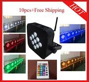 918w Rgbwap 6 In 1 Wireless Battery Led Par Light Stage Uplights 10pc With Case