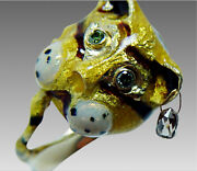 18k Figural Enamel Tiger Ring With Diamond Briolette And Emeralds Clemson Tigers