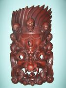 Giant Hand Carved Wood Bhairab Mask 36h