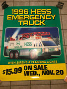Hess 1996 Plastic Poster Sign For The Emergency Truck W/ Yellow Bottom - 58x46