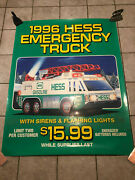 Hess 1996 Plastic Poster Sign For The Emergency Truck W/ Green Bottom - 58x46