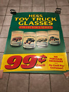 Hess 1996 Plastic Poster Sign Toy Truck Glasses Collectors Series - 58x46