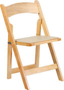 50 Pack Natural Wood Folding Chair W/ Black Vinyl Padded Seat - Wedding Chair