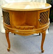 French Provincial Wood Occasional/hall Drum Table W/inlays + Removable Glass Top