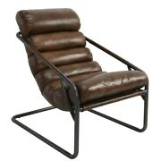 26 W Leather Occasional Chair Channel Tufted Top Grain Leather Iron Base Modern