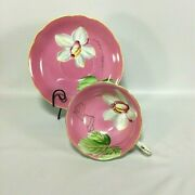 Trimont Tea Cup Saucer Pink Wide Mouth Large White Orchid Flower Occupied Japan