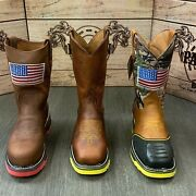 Menand039s Steel Toe Work Boots American Flag Style Soft Leather Inside Shaft Safety