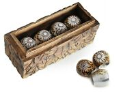 Hand Cut Natural Cowry Shell Napkin Ring Holder In Wooden Box - Set Of 12