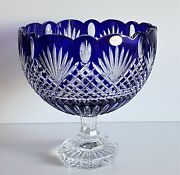 Ajka Cobalt Blue Cased Cut To Clear Crystal Fruit Or Centerpiece Futed Bowl