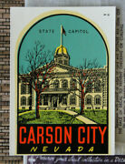 Original Vintage Travel Decal Carson City Nevada State Capital Building Old Nv