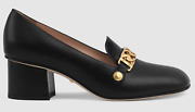 Sylvie Black Leather Gold Chain Red Web Block Mid Heel Mule Loafer Pump 38