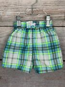 Op Swim Trunks W/lining Green/blue/gray/white Plaid 100 Polyester Baby 3-6 Mo