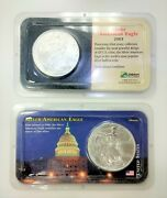 Lot Of Two 2000 And 2003 American Eagle Silver Coin 999 Bullion W Holder