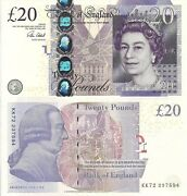 England 20 Pound Banknote World Paper Money Currency Pick P392c 2015 Queen