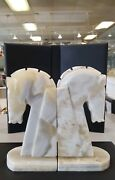 Vintage Set Of Art Deco Hand Craved Oynx Horse Head Bookends 8 Tall