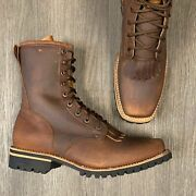 Menand039s Lacer Work Boots Western Soft Brown Leather Rubber Sole 8 Soft Square T