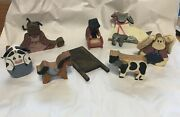 Lot Of Wood Figures Vintage Farm Animals Child And Woman Cow Sheep Bunny Rabbit