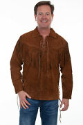 Scully Menand039s Fringed Suede Leather Shirt 5