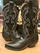 Tony Mora Black/blue Western Lizard Boot 814 Size Menand039s Us 7 Fit Womenand039s Us 9
