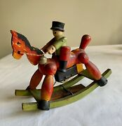 Vintage Japanese Wind-up Toy Wooden Rocking Horse With Rider Made In Japan
