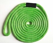 Solid Braid Nylon Dock Line 3/8 X 25and039 Floats Fade Proof Usa Made - Lime Green