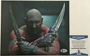 Funny Dave Bautista Drax Signed Guardians Of The Galaxy 8x10 2 Photo Bas