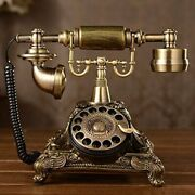 Retro Phone Telephone Vintage Corded Home Decor Antique Desk Style Rotary Dial