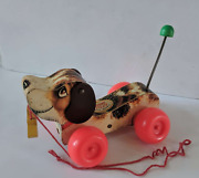 Vintage Fisher Price 1965 Little Snoopy Wooden Pull Toy Beagle