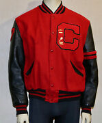 1977 Red Wool Leather Sleeve Sports Letterman Jacket 44 Vintage Chenille Patches