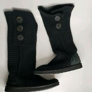 Ugg Black Classic Cardy Buttons Knit Wool Tall Boots Sweater Lined Size 7
