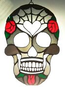 Artist Made Sugar Skull Stained Glass Day Of The Dead Vintage Glass