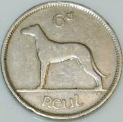 Irish 1949 Sixpence 6d Coin Pence Low Mint Year Ireland Wolfhound And Harp Eire