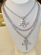 Set Of 3 Solitaire Tennis Necklace Silver And Pink With Ankh And Jesus Pendant