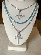 Set Of 3 4mm Tennis Necklace Silver And Blue With Ankh Cross And Jesus Pendant