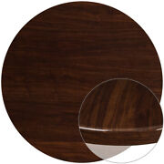 48and039and039 Round Resin Restaurant Table Top In High-gloss Walnut Finish