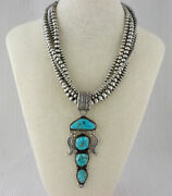 Sterling Silver Bead Necklace With Natural Water Web Kingman Turquoise Pendant