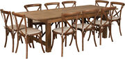 8and039 X 40and039and039 Antique Rustic Folding Farm Table Set 10 Cross Back Chairs And Cushions