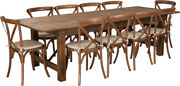 9and039 X 40and039and039 Antique Rustic Folding Farm Table Set 10 Cross Back Chairs And Cushions