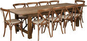 9' X 40'' Antique Rustic Folding Farm Table Set 10 Cross Back Chairs And Cushions