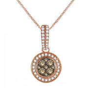 1.00 Ctw Round Natural Diamond Cluster Pendant Necklace 14k Rose Gold