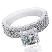 Cushion Cut Pave Style 2.84ct Engagement Ring In 14k White Gold