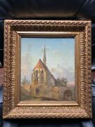 Original Oil Painting Old Baroque Church 18-19th Century Germany, France